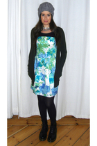 green Zara cardigan - black Mango blouse - blue cutesy girl dress - black Dr Mar
