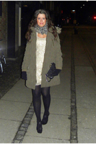 green Zara coat - beige By Malene Birger dress - black Chanel purse - black Stev