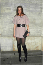 pink COS blouse - black H&M skirt - black from Mallorca boots - black Chanel pur
