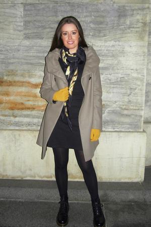 beige Zara coat - gray Diane Von Furstenberg dress - yellow from berlin gloves -