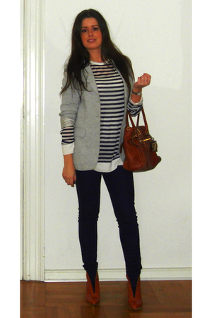 gray Elise Gug blazer - white Alexander Wang blouse - blue veromoda jeans - brow