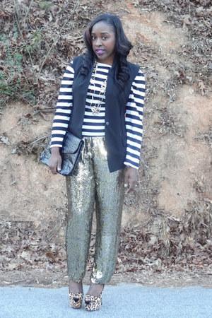 thrifted shirt - thrifted purse - vintage pants - Sam Edeleman pumps - vest
