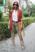 linen Zara blazer - open toe Deichmann boots - round vintage sunglasses