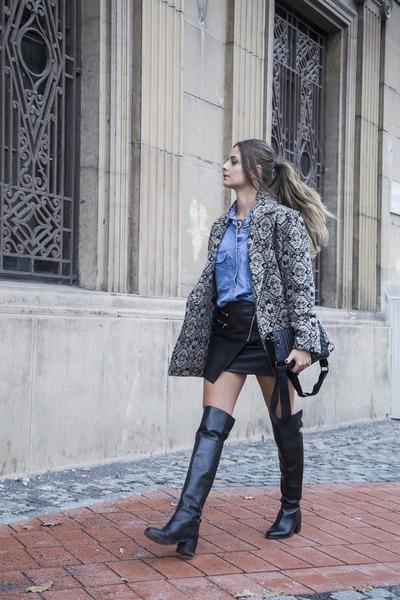 Mango coat - Zara boots - Mango shirt - Mango bag - H&M skirt