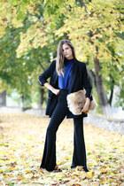 turtleneck anel top - Mango blazer - flare anel pants