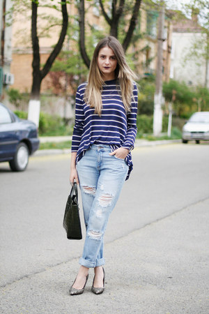 boyfriend Glow jeans - tote emporio armani bag - Isabel Marant heels