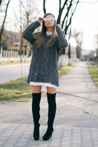 over the knee Mango boots - shirt dress Stradivarius dress