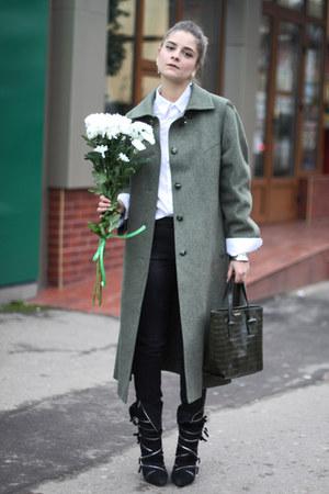 thrifted vintage coat - Stradivarius jeans - H&M shirt - emporio armani bag