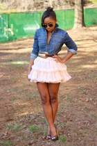 American Apparel skirt - Gap jacket - Super sunglasses - Anthropologie belt