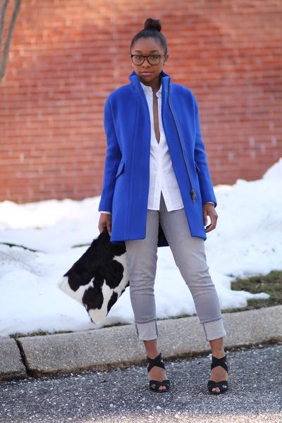 JCrew coat - JCrew jeans - JCrew shirt - Love Cortnie bag - BCBG heels