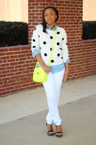 Forever 21 sweater - JCrew bag - Forever 21 pants - JCrew top - Aldo heels
