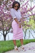 asos skirt - Express shirt - Super sunglasses - JCrew belt - Michael Kors heels