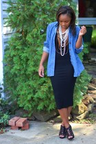JCrew top - bcbg max azria dress - JCrew necklace - Express necklace