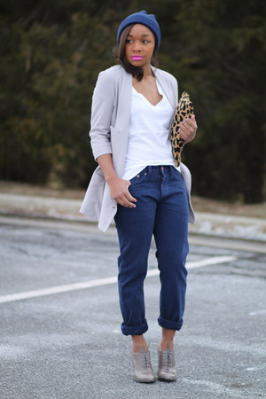 H&M hat - Anthropologie blazer - Love Cortnie bag - Aldo heels - JCrew t-shirt