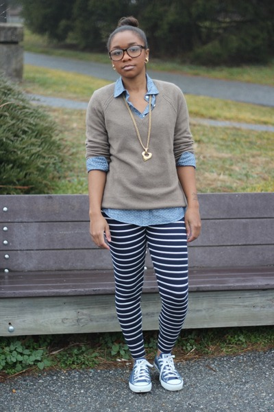 Converse sneakers - bcbg max azria sweater - JCrew top - JCrew pants
