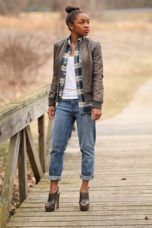 Prada heels - JCrew jeans - Gap jacket - JCrew top - JCrew t-shirt