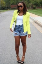 Zara blazer - Love Cortnie bag - thrifted shorts - Forever 21 sunglasses