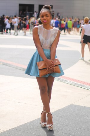 Nordstrom top - Love Cortnie bag - Nordstrom bra - asos skirt - Zara heels