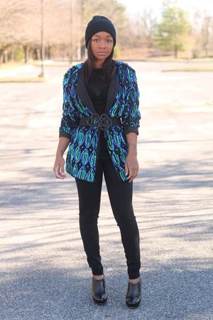 thrifted jacket - Forever 21 hat - bcbg max azria top - bcbg max azria pants