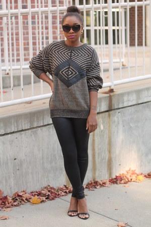 thrifted sweater - Members Only leggings - Forever 21 sunglasses - Zara heels