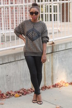 thrifted sweater - Members Only leggings - Forever 21 sunglasses - Zara heels