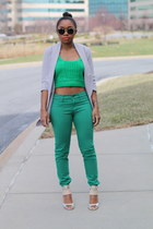 Nasty Gal top - Gap jeans - Anthropologie blazer - Super sunglasses