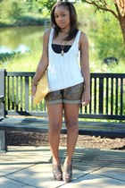 JCrew shorts - Love Cortnie bag - Express top - Urban Outfitters vest