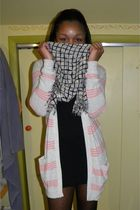 Urban Outfitters scarf - bcbg max azria dress - Theory cardigan - Express tights