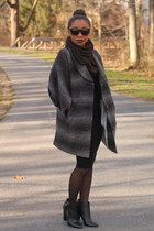 The Limited coat - bcbg max azria dress - Express tights - Forever 21 sunglasses