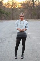 thrifted sweatshirt - Express tights - bcbg max azria skirt - Forever 21 glasses