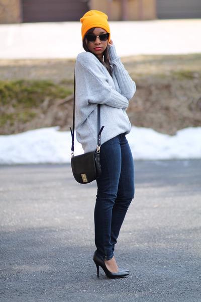bcbg max azria sweater - blank jeans jeans - H&M hat - JCrew bag