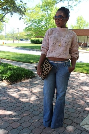 vintage sweater - Level 99 jeans - Love Cortnie bag - JCrew belt
