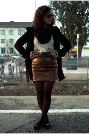 dark brown Ray Ban glasses - black H&M coat - bronze H&M skirt