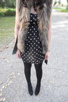 brown H&M vest - black Primark dress - black H&M tights - black Akira shoes