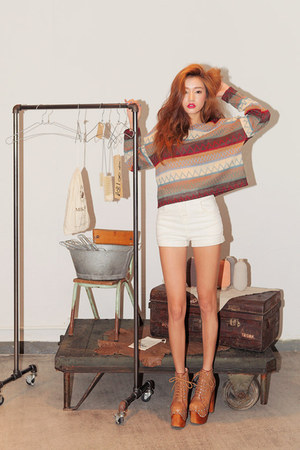 burnt orange knitted Stylenanda top - brown lula-tan Jeffrey Campbell boots