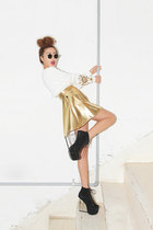 white jewellery Stylenanda sweater - gold bling Stylenanda skirt