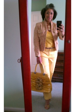 tweed Anne Klein jacket - nicole lee bag - Jones New York pants