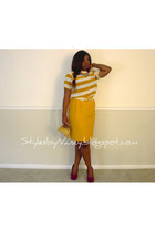 yellow mustard vintage skirt - gold gold vintage purse