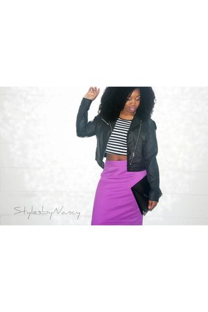 magenta pencil skirt JCPenney skirt - black motorcycle Wet Seal jacket
