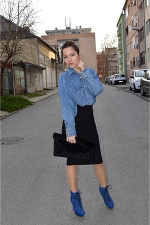 thrifted shirt - boots - pull&bear skirt