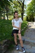 black Calliope shorts - white lace top - black Converse sneakers