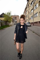 black lace EliteFashion99 romper - ankle boots Tally Weijl boots - c&a jacket