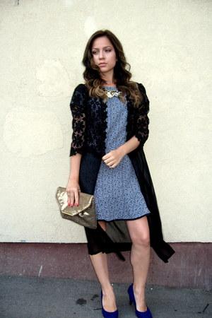 Republic dress - gold clutch Avon bag - cobalt blue pumps - choiescom cardigan