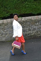 cream H&M blazer - multi colour River Island bag - orange asos shorts