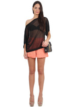 black Hibou bag - coral Three Floor shorts - black Sed Etiam blouse