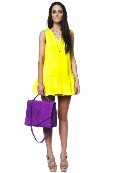 Yellow three floor dresses purple emily cho bags silver for Three floor yellow dress