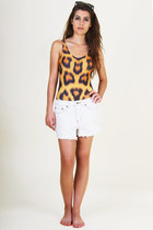 white denim Somedays Lovin shorts - black clip on Spitfire sunglasses