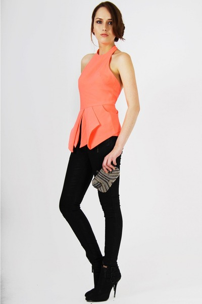 """Light Orange Tops, Black Jeans 