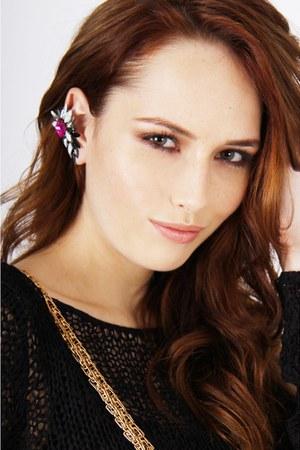 black evil twin jumper - red Styligion bag - magenta ear cuff Styligion earrings