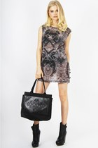 black decoleather Styligion bag - heather gray tank dress evil twin dress